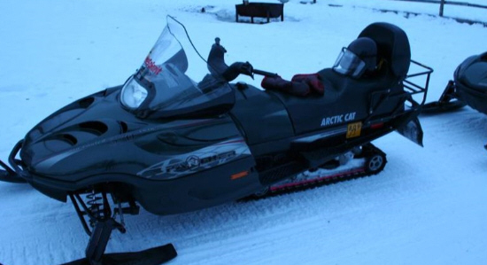 An Arctic Cat Snowmobile on the snow in Levi Lapland, Finland